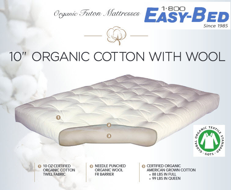 10 Inch Organic Cotton And Wool Futon Mattress