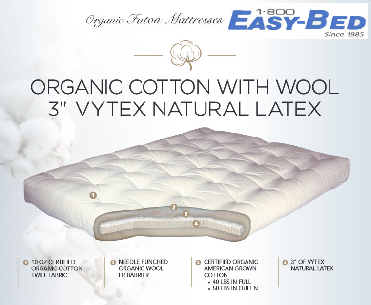 8 Inch Organic Cotton Wool And Natural Latex Futon Mattress